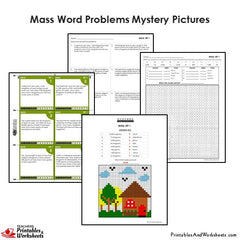 4th Grade Mass Word Problems Mystery Pictures Coloring Worksheets / Task Cards