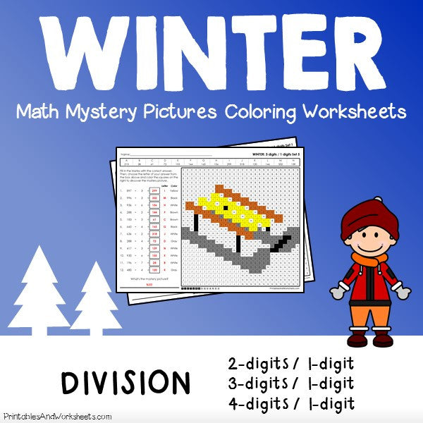 Winter Division Coloring Worksheets