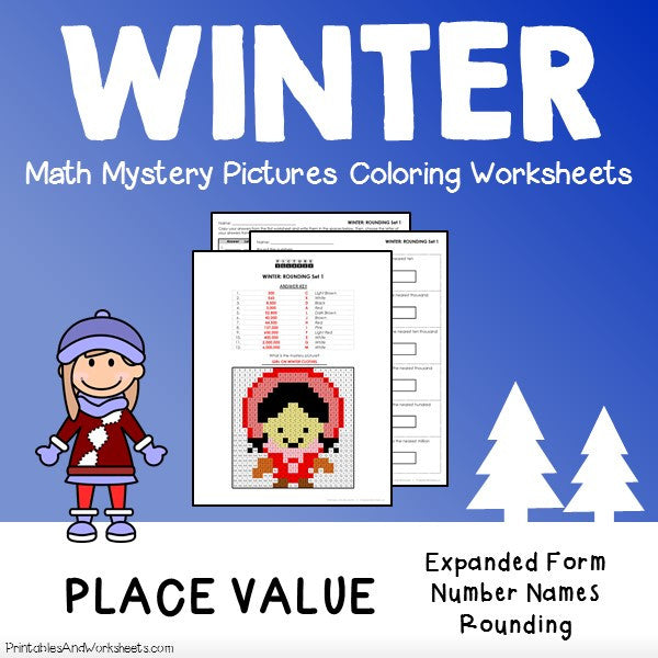 Winter Place Value Coloring Worksheets