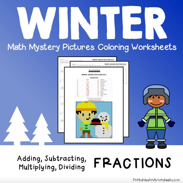 Winter Fractions Coloring Worksheets