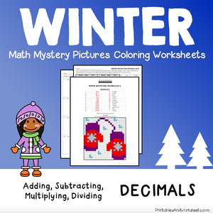 Winter Decimals Coloring Worksheets