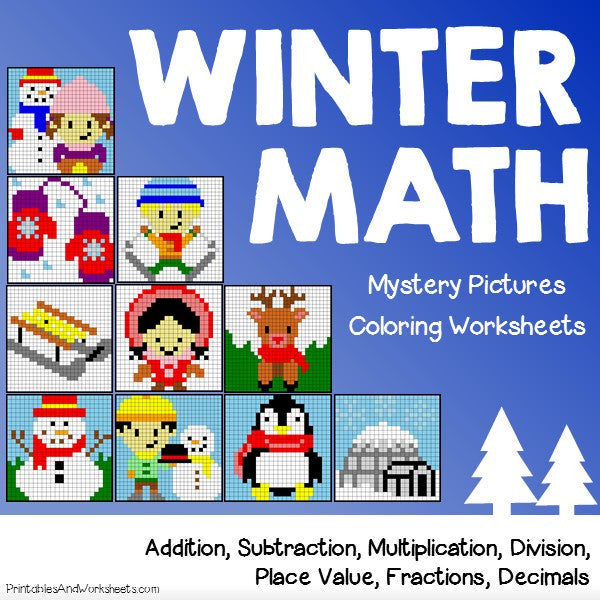 Winter Math Coloring Worksheets
