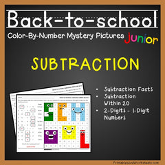 Back to School Subtraction Facts Color-By-Number