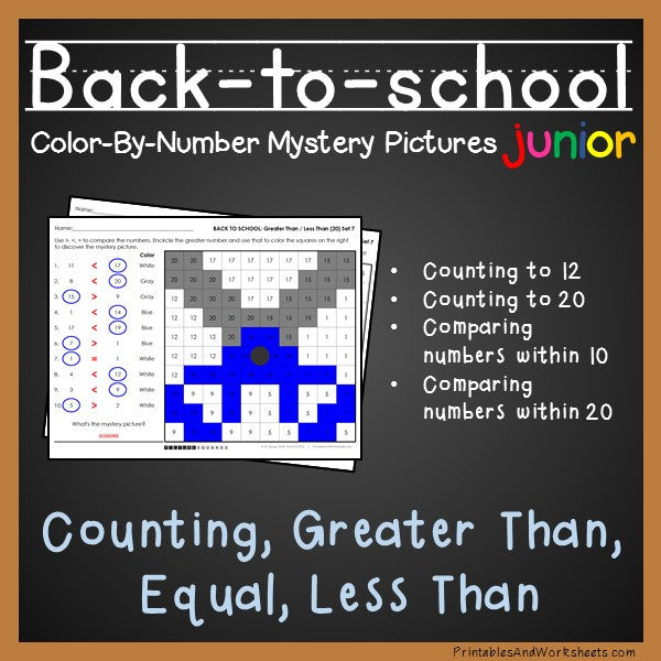 Back To School Color-By-Number - Counting to 20, Greater Than/Less Than
