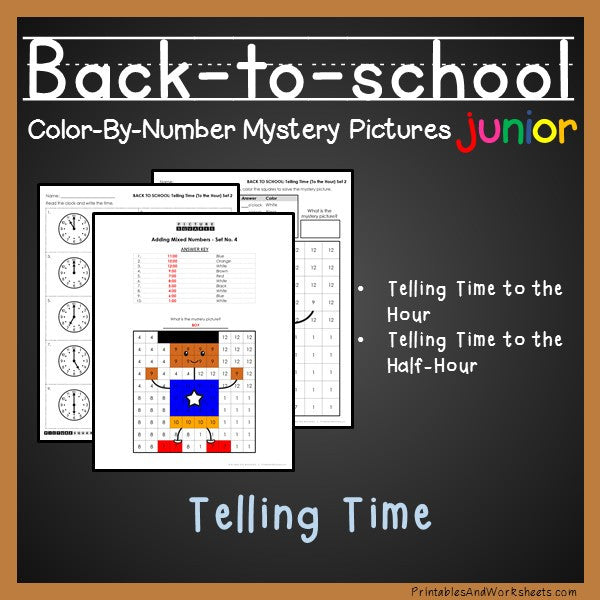 back to school telling time color by number printables worksheets. Black Bedroom Furniture Sets. Home Design Ideas