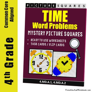 Grade 4 Time Word Problems Mystery Picture Coloring Worksheets / Task Cards
