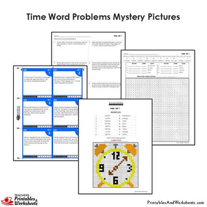 Grade 4 Time Word Problems Mystery Picture Coloring Worksheets / Task Cards - Clock