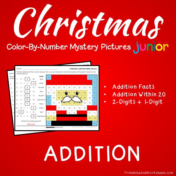 Christmas Color-By-Number: Addition