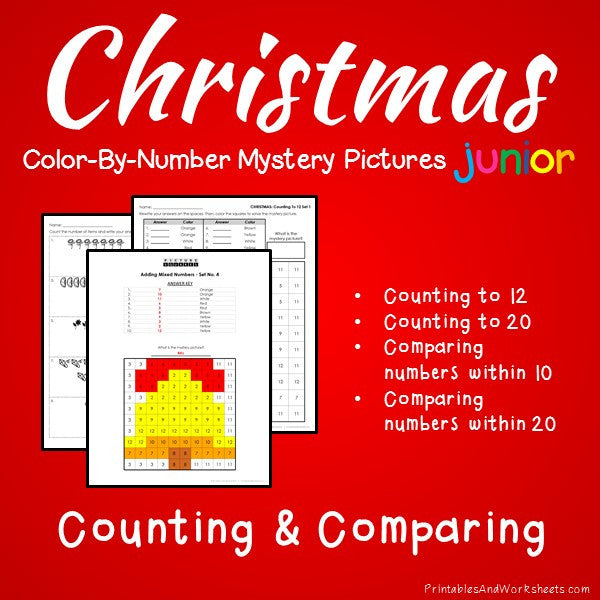 Christmas Color-By-Number: Counting to 20, Greater Than/Less Than