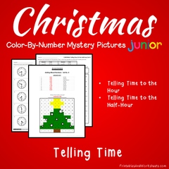 Christmas Telling Time Color-By-Number