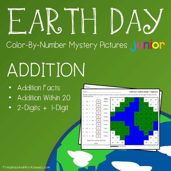 Earth Day Color-By-Number: Addition