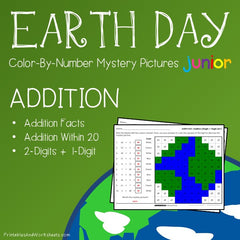 Earth Day Addition Facts Color-By-Number