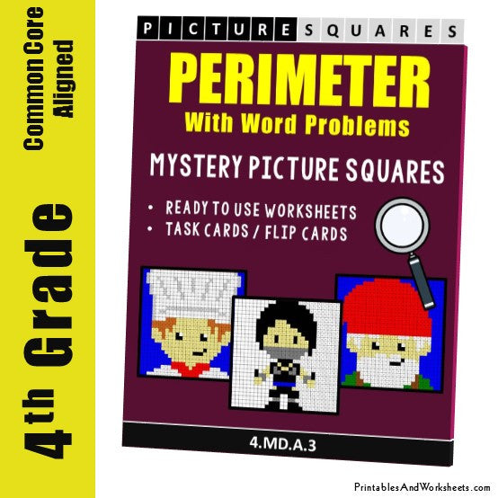 Grade 4 Perimeter Word Problems Mystery Picture Coloring Worksheets / Task Cards