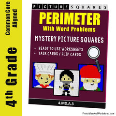 4th Grade Perimeter Word Problems Mystery Pictures Coloring Worksheets / Task Cards
