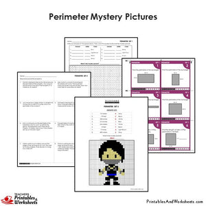 Grade 4 Perimeter Word Problems Coloring Worksheets / Task Cards - Ninja