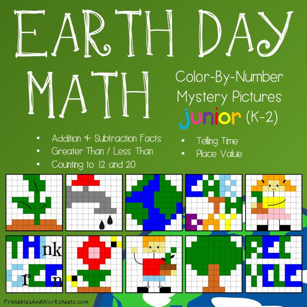 Earth Day Math Color-By-Number