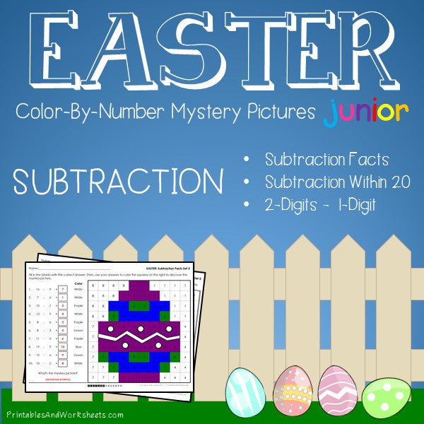 Easter Color-By-Number: Subtraction