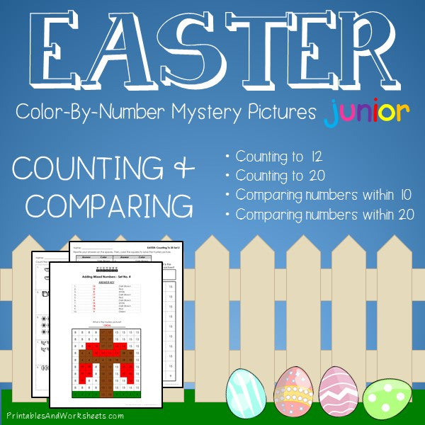 Easter Color-By-Number: Counting to 20, Greater Than/Less Than