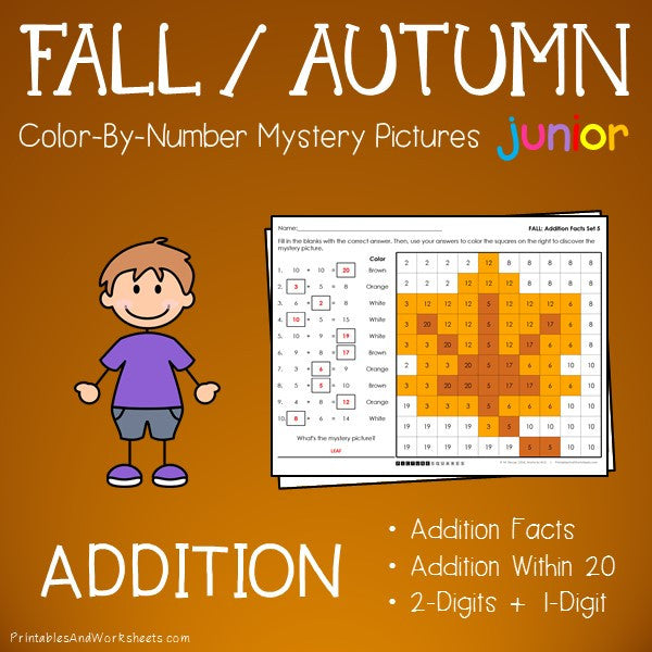 Fall/Autumn Color-By-Number: Addition