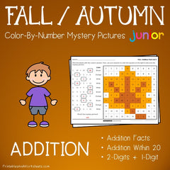 Fall / Autumn Addition Facts Color-By-Number