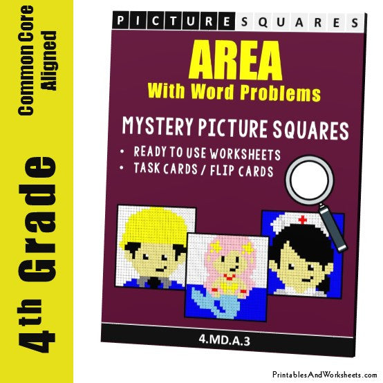 Grade 4 Area Word Problems Mystery Pictures Coloring Worksheets / Task Cards