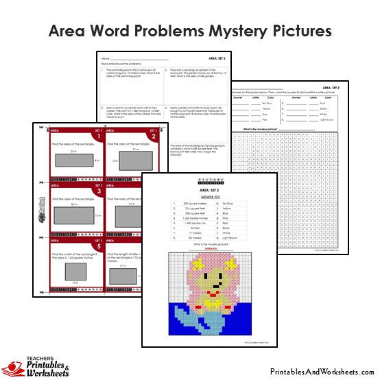 Grade 4 Area Word Problems Mystery Pictures Coloring Worksheets / Task Cards - Mermaid