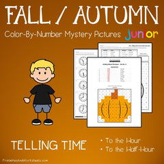 Fall / Autumn Telling Time Color-By-Number