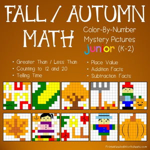 Fall/Autumn Color-By-Number: Math
