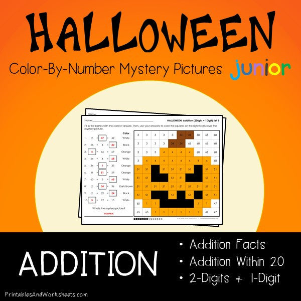Halloween Color-By-Number: Addition