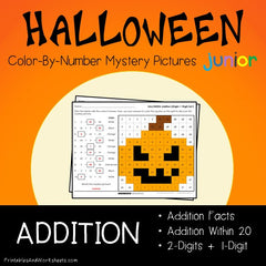 Halloween Addition Facts Color-By-Number