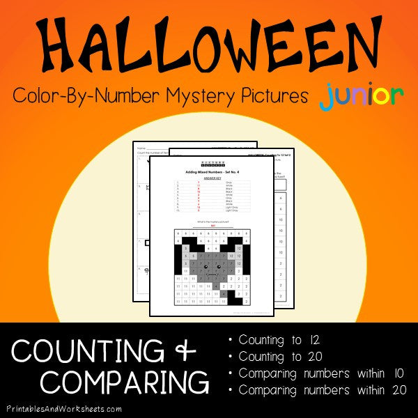 Halloween Color-By-Number: Counting to 20, Greater Than/Less Than