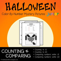 Halloween Counting, Greater Than Less Than Color-By-Number