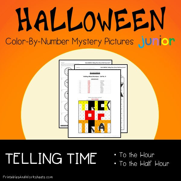Halloween Color-By-Number: Telling Time