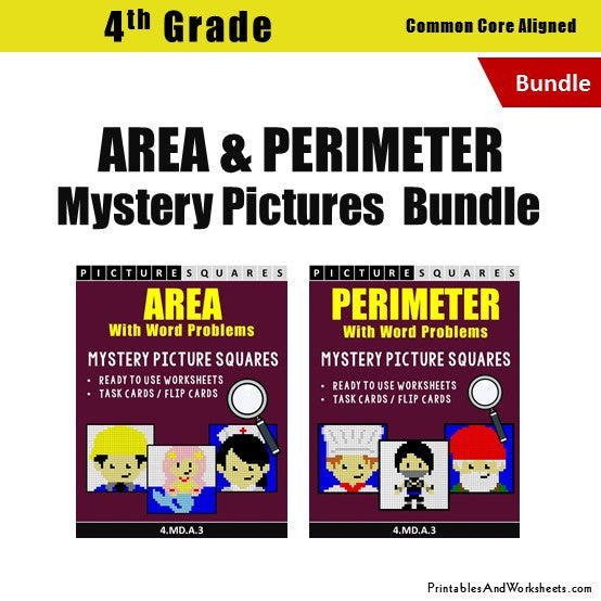 Grade 4 Area and Perimeter Mystery Pictures Coloring Worksheets / Task Cards