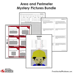 4th Grade Area and Perimeter Mystery Pictures Coloring Worksheets/Task Cards Bundle