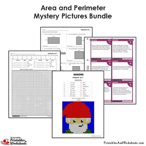 Grade 4 Area and Perimeter Coloring Worksheets / Task Cards - Gnome