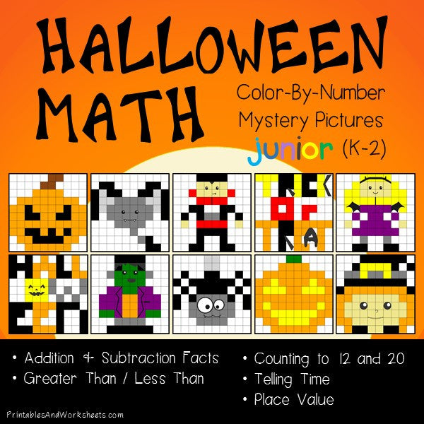 Halloween Color-By-Number: Math