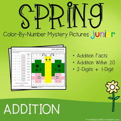 Spring Addition Facts Color-By-Number