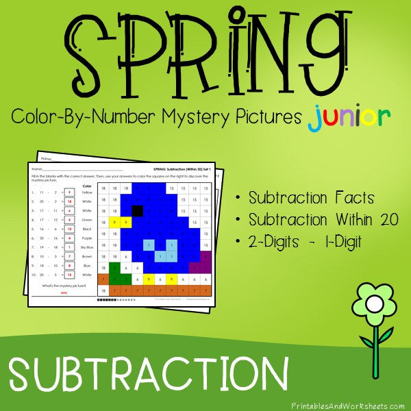 Spring Color By Number - Subtraction