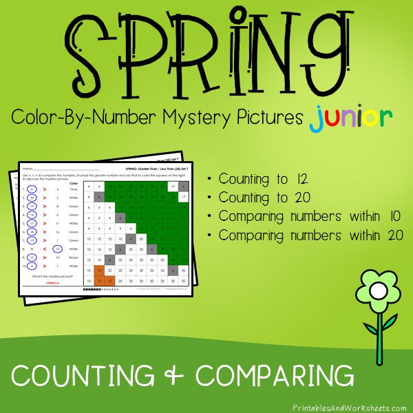Spring Color By Number - Counting to 20, Greater Than/Less Than