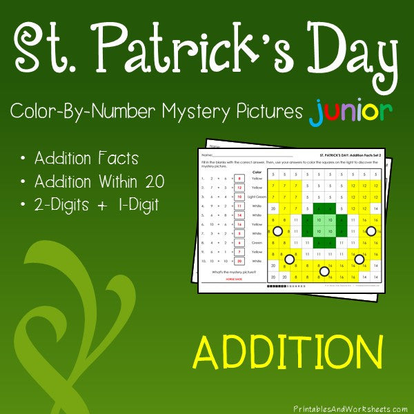 Saint Patrick's Day Color-By-Number: Addition