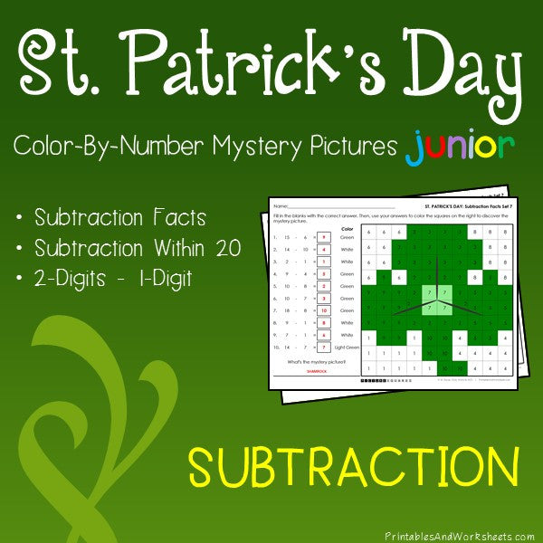 Saint Patrick's Day Color-By-Number: Subtraction