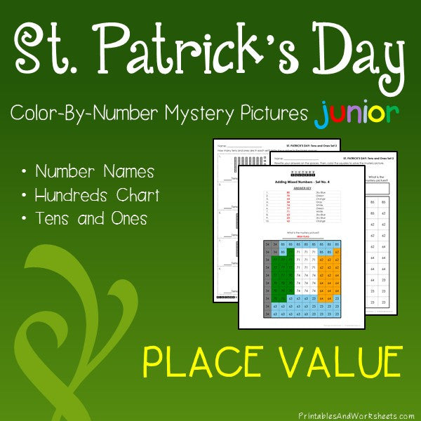 Saint Patrick's Day Color-By-Number: Place Value