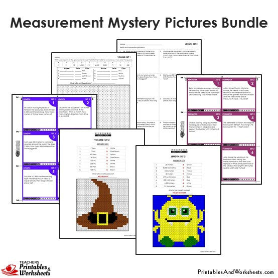 4th Grade Measurement Mystery Pictures Coloring Worksheets/Task ...