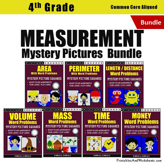 Grade 4 Measurement Word Problems Mystery Pictures Coloring Worksheets / Task Cards