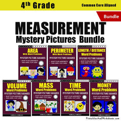 4th Grade Measurement Mystery Pictures Coloring Worksheets / Task Cards Bundle