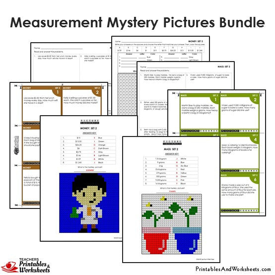 4th grade measurement mystery pictures coloring worksheets task cards printables worksheets. Black Bedroom Furniture Sets. Home Design Ideas