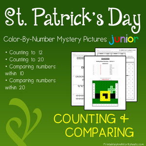 Saint Patrick's Day Color-By-Number: Counting to 20, Greater Than/Less Than
