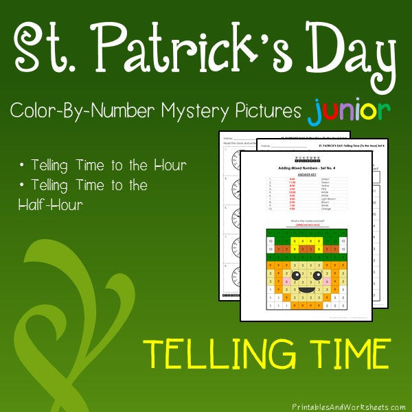 Saint Patrick's Day Color-By-Number: Telling Time