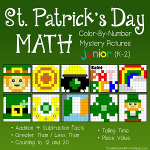 Saint Patrick's Day Math Color-By-Number